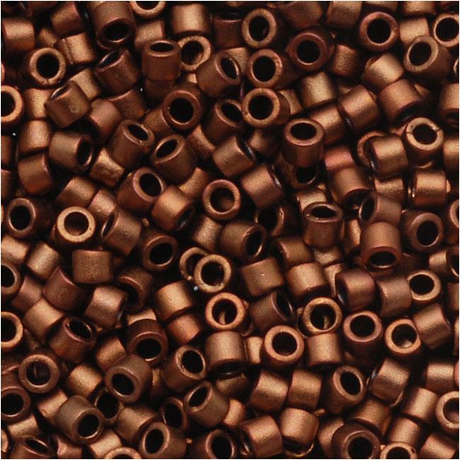 Miyuki Delica Seed Beads, 11/0 Size, 7.2 Grams, Matte Bronze Gold Metallic DB1051