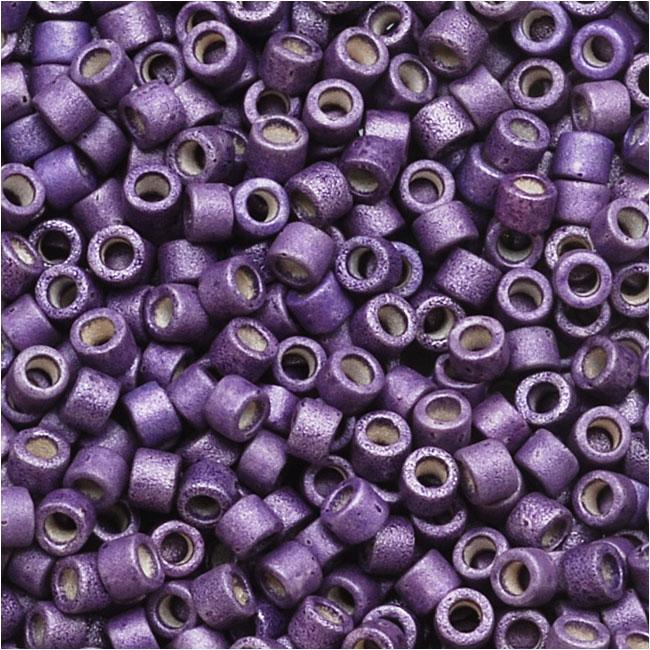 Miyuki Delica Seed Beads, 11/0 Size, 7.2 Grams, Galvanized Matte Eggplant Purple DB1174
