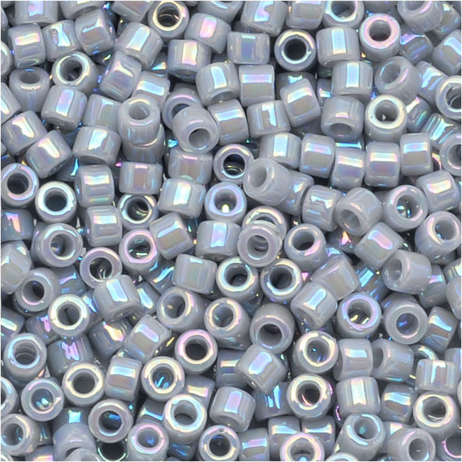 Miyuki Delica Seed Beads, 11/0 Size, 7.2 Grams, Opaque Ghost Grey AB DB1579