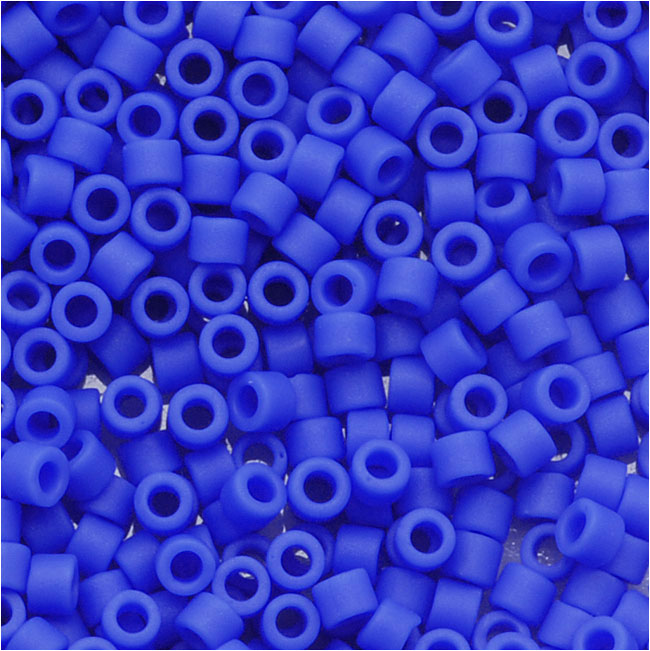 Miyuki Delica Seed Beads, 11/0 Size, 7.2 Grams, Matte Opaque Cyan Blue DB1588