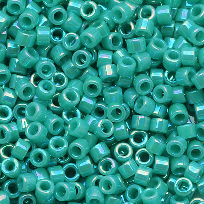 Miyuki Delica Seed Beads, 11/0 Size, 7.2 Grams, Opaque Turquoise AB DB166