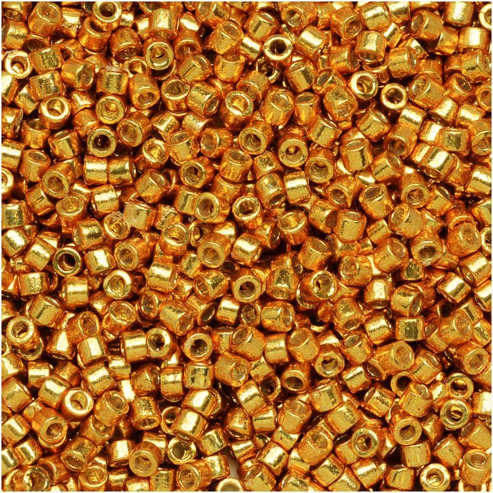 Miyuki Delica Seed Beads, 11/0 Size, 7.2 Grams, Duracoat Galvanized Yellow Gold DB1833