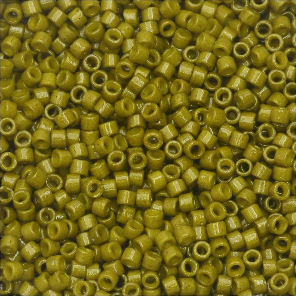 Miyuki Delica Seed Beads, 11/0 Size, 7.2 Grams, Duracoat Opaque Spanish Olive Green DB2141