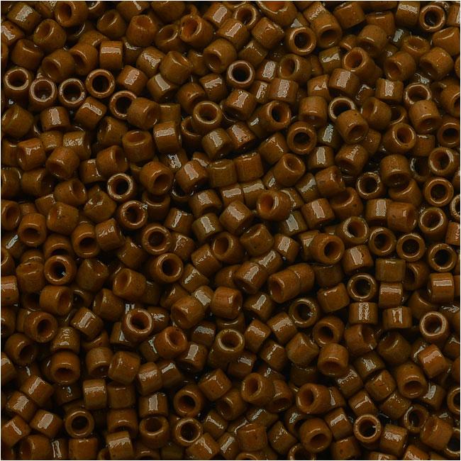 Miyuki Delica Seed Beads, 11/0 Size, 7.2 Grams, Duracoat Opaque Cognac DB2142