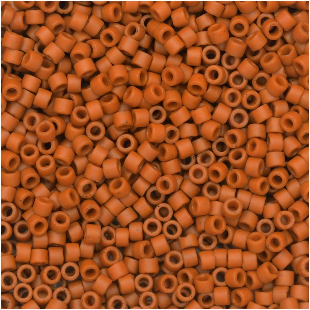 Miyuki Delica Seed Beads, 11/0, 7.2 Gram Tube, #2287 Frosted Opaque Glazed Burnt Orange