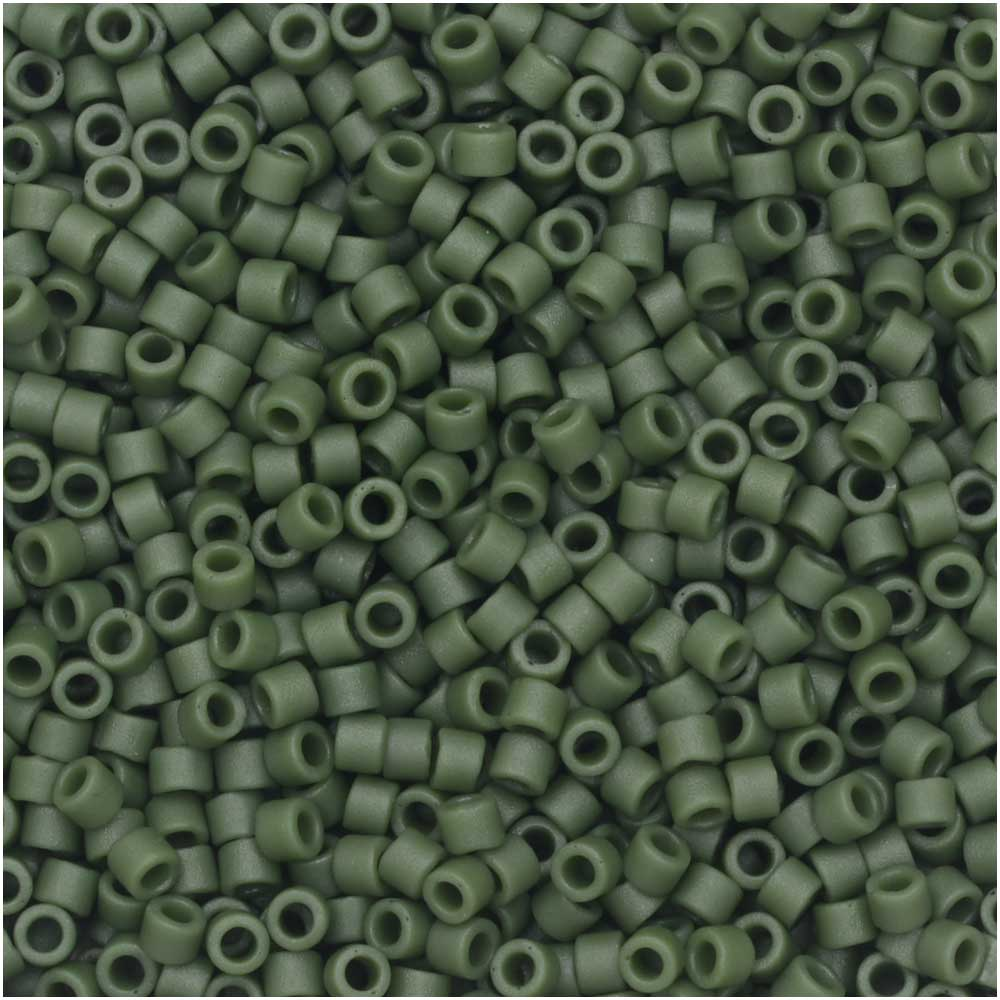 Miyuki Delica Seed Beads, 11/0 Size, 7.2 Gram Tube, #2291 Frosted Opaque Glazed Dark Green