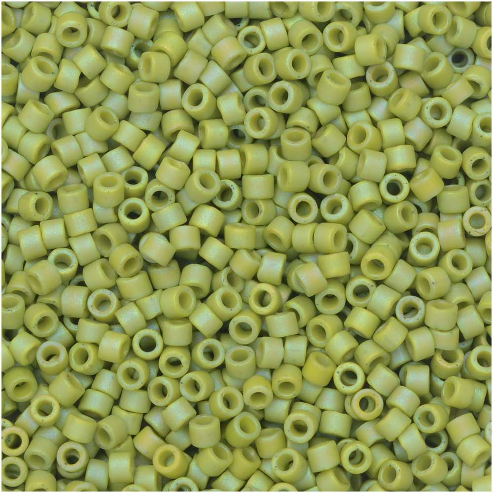 Miyuki Delica Seed Beads, 11/0, 7.2 Gram Tube, #2309 Frosted Opaque Glazed Rainbow Olive