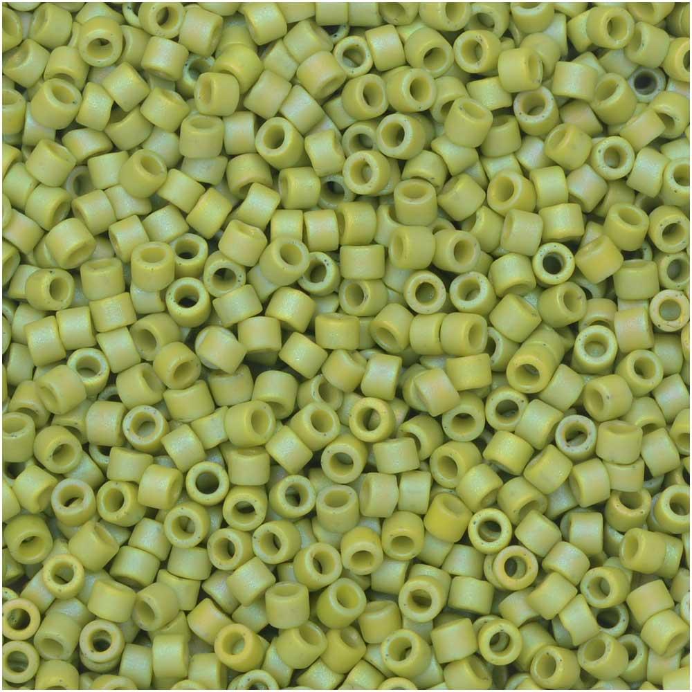 Miyuki Delica Seed Beads, 11/0 Size, 7.2 Gram Tube, #2309 Frosted Opaque Glazed Rainbow Olive
