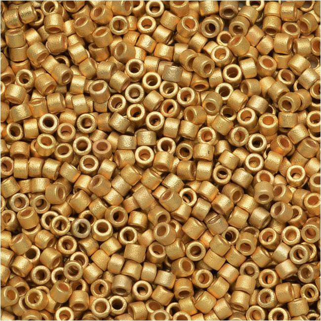 Miyuki Delica Seed Beads, 11/0, 7.2 Grams, Matte Metallic Bright Yellow 24K Gold DB331