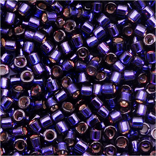 Miyuki Delica Seed Beads, 11/0 Size, 7.2 Grams, Silver Lined Dark Purple DB609