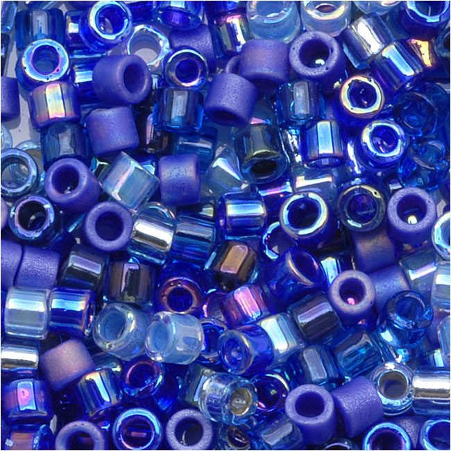 Miyuki Delica Seed Beads, 11/0 Size, 7.2 Grams, Mix Blue Tones