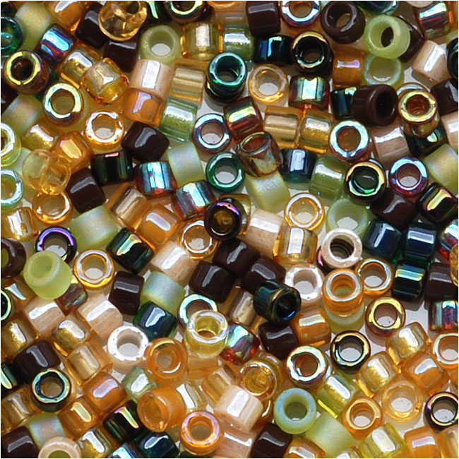 Miyuki Delica Seed Beads, 11/0 Size, 7.2 Grams, Mix Earthtone Brown Tan Green