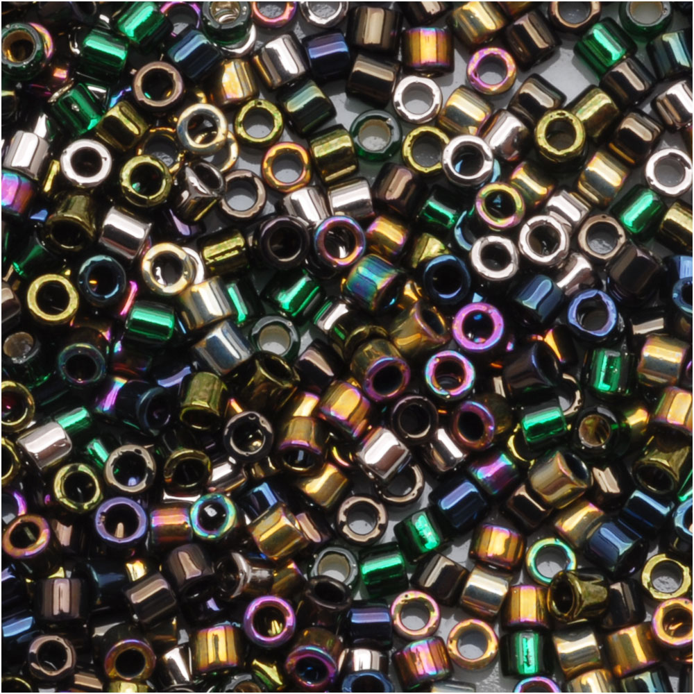 Miyuki Delica Seed Beads, 11/0 Size, 7.2 Grams, Mix Heavy Metals Iris Gold