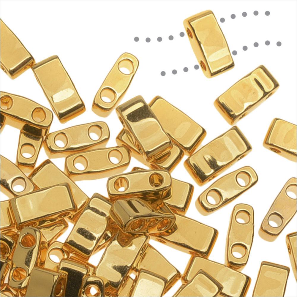Miyuki Half Tila 2 Hole Rectangle Beads 5x2.3mm - 24K Gold Plated 7.8 Grams