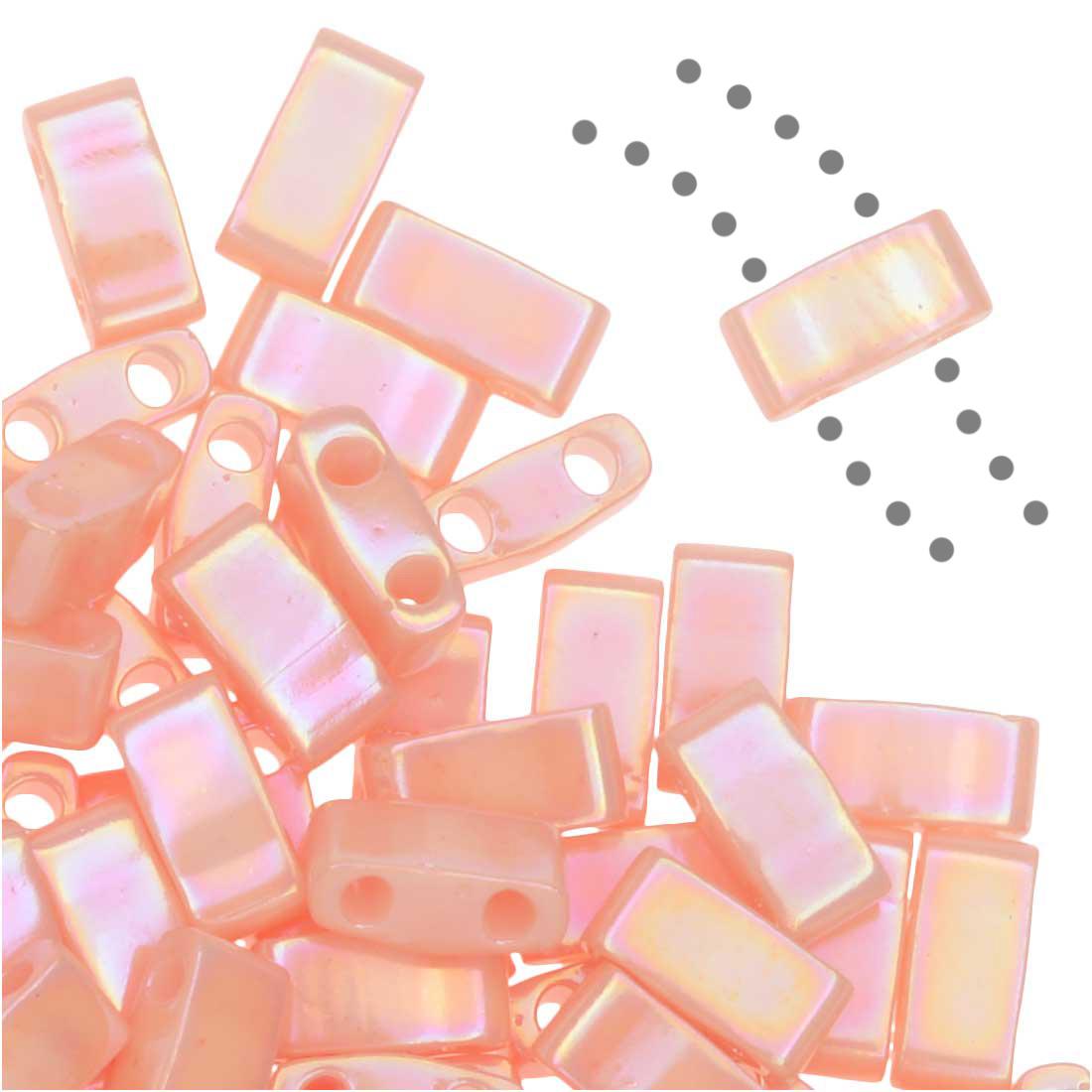 Miyuki Half Tila 2 Hole Rectangle Beads 5x2.3mm - Semi-Matte Opaque Salmon 7.8 Grams