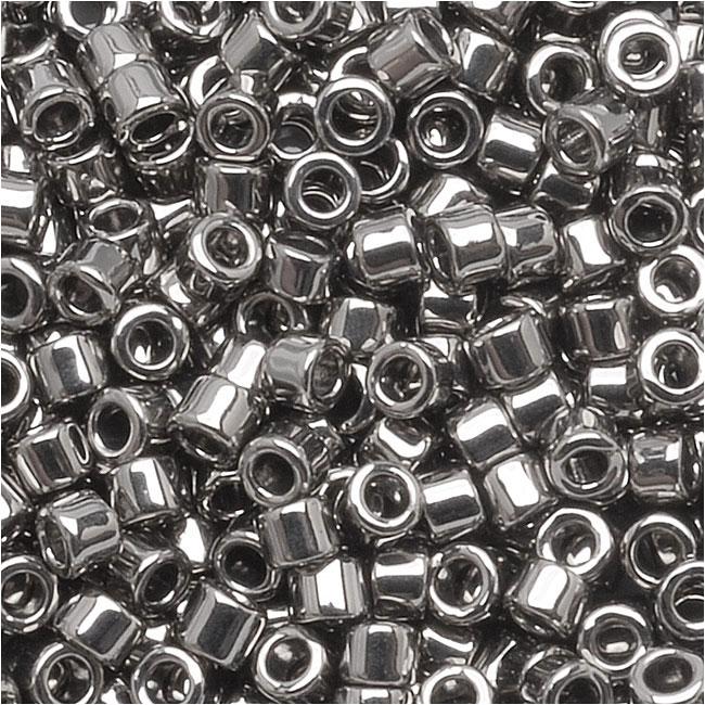 Miyuki Delica Seed Beads, 10/0 Size, 8 Grams, Steel Metallic DBM0021