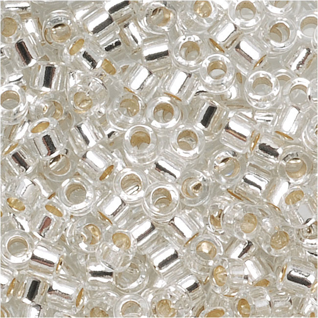 Miyuki Delica Seed Beads, 10/0 Size, 8 Grams, Silver Lined Crystal DBM0041