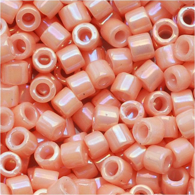 Miyuki Delica Seed Beads, 10/0 Size, 8 Grams, Opaque Salmon AB Pink DBM0207