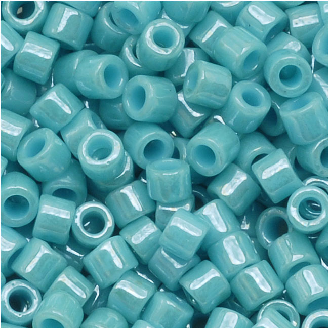 Miyuki Delica Seed Beads, 10/0 Size, 8 Grams, Opaque Light Aqua Luster DBM0217