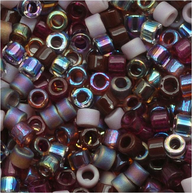 Miyuki Delica Seed Beads, 10/0 Size, 8 Grams, Mix Vinyard Mixed Purples