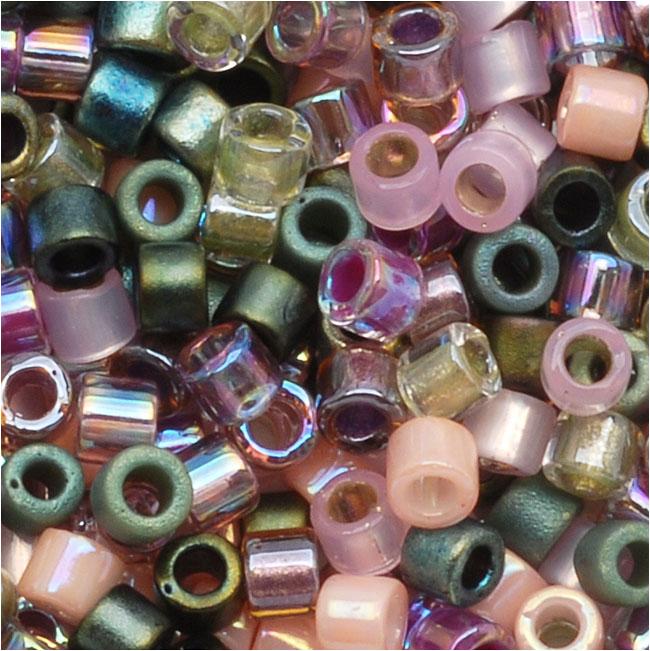 Miyuki Delica Seed Beads, 10/0 Size, 8 Grams, Mix Lavender Garden Pink Green
