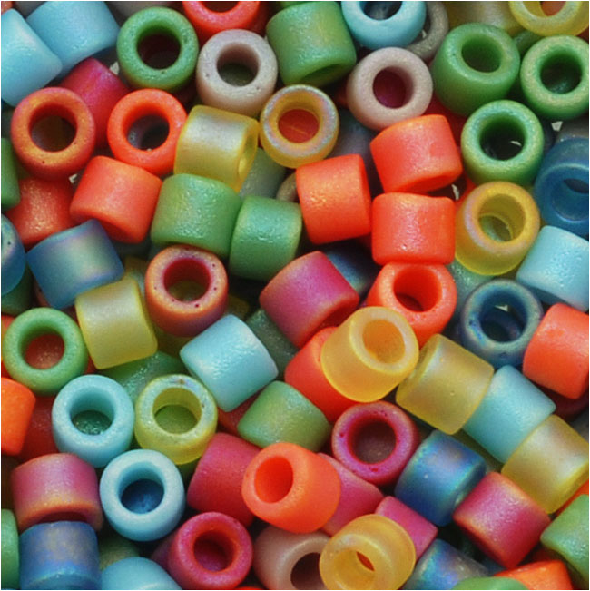 Miyuki Delica Seed Beads, 10/0 Size, 8 Grams, Mix Matte Rainbow