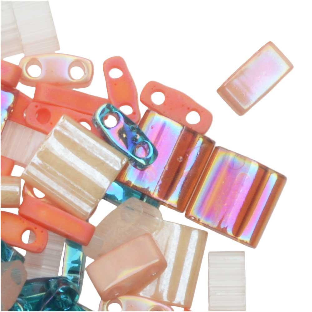 Miyuki Tila Beads, 2-Hole Shape Mixes, Island Hopper, 7.2 Gram Tube