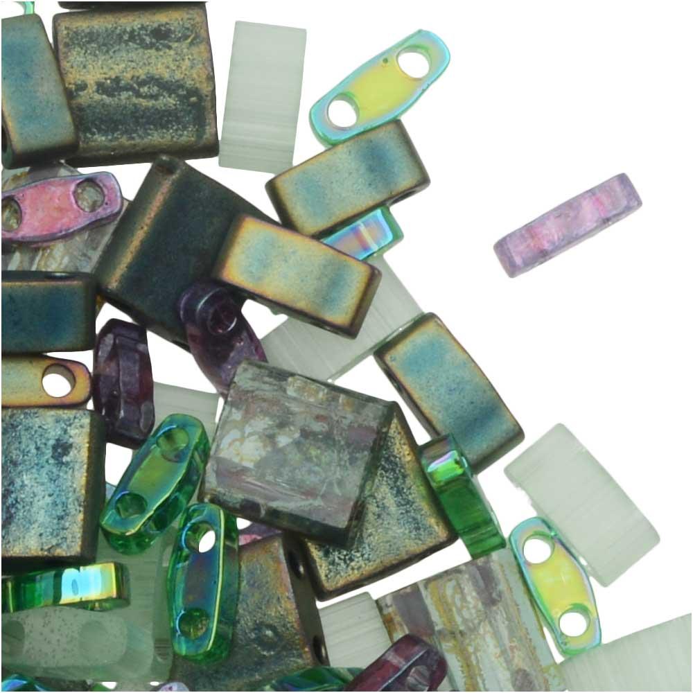 Miyuki Tila Beads, 2-Hole Shape Mixes, Sherwood Forest, 7.2 Gram Tube