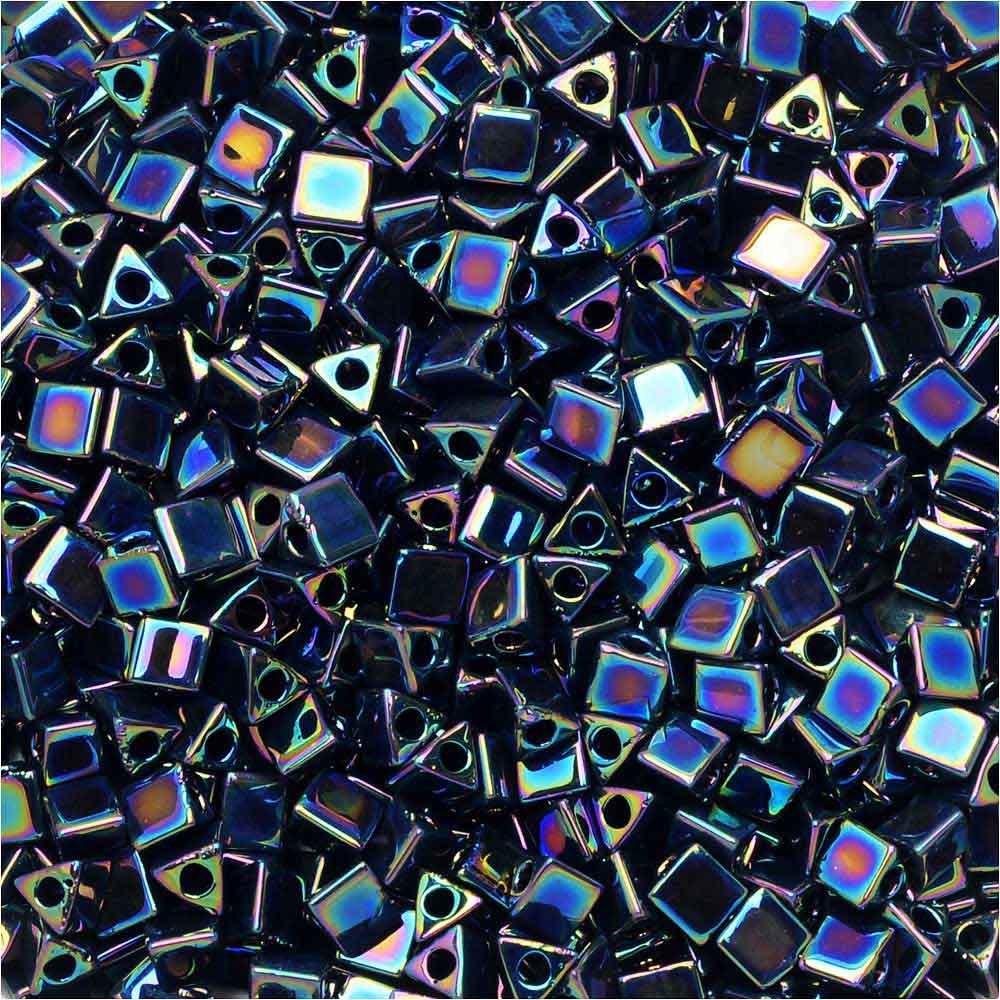 Miyuki, Sharp Triangle Beads 10/0, 7.5 Grams, Metallic Variegated Blue Iris