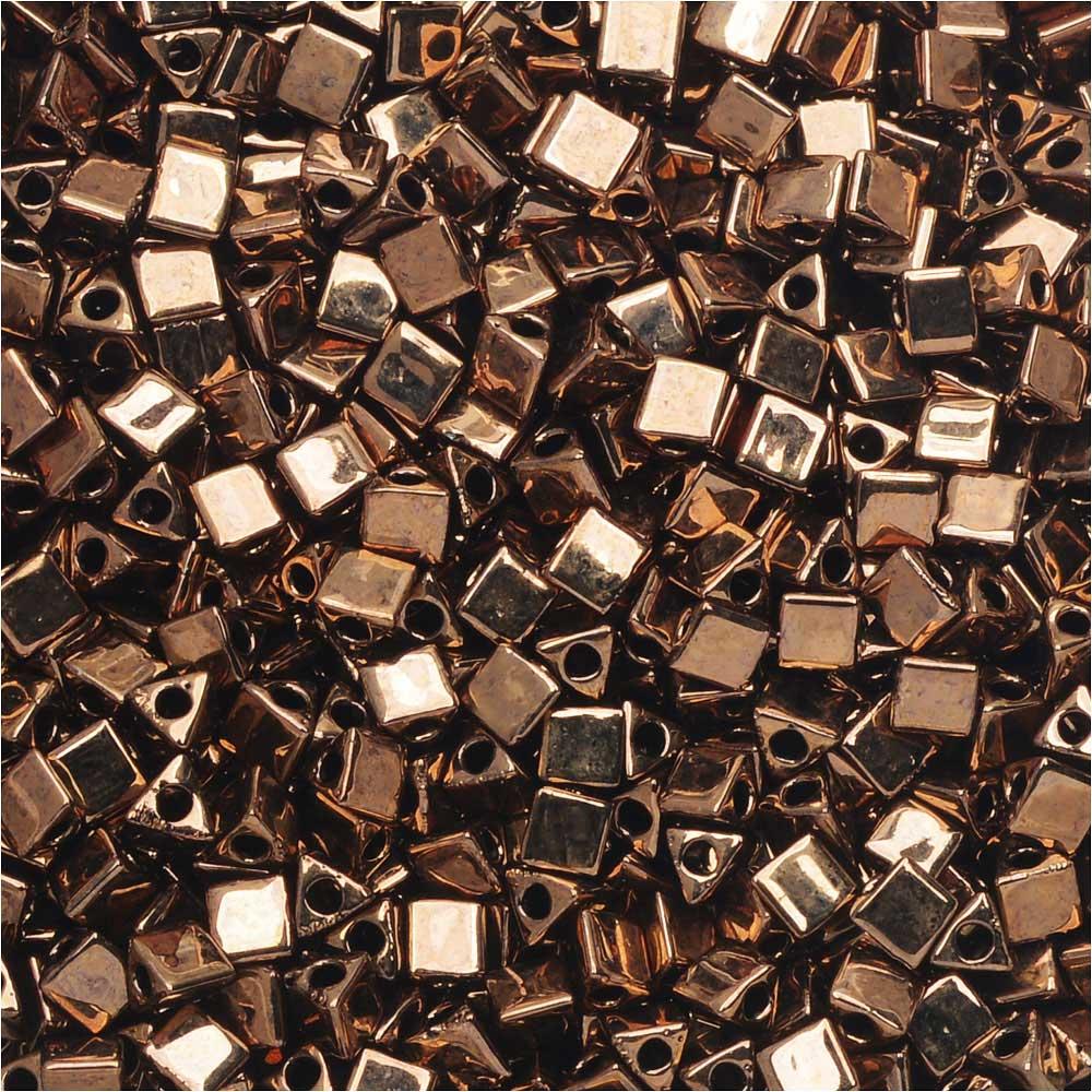 Miyuki, Sharp Triangle Beads 10/0, 7.5 Grams, Metallic Dark Bronze
