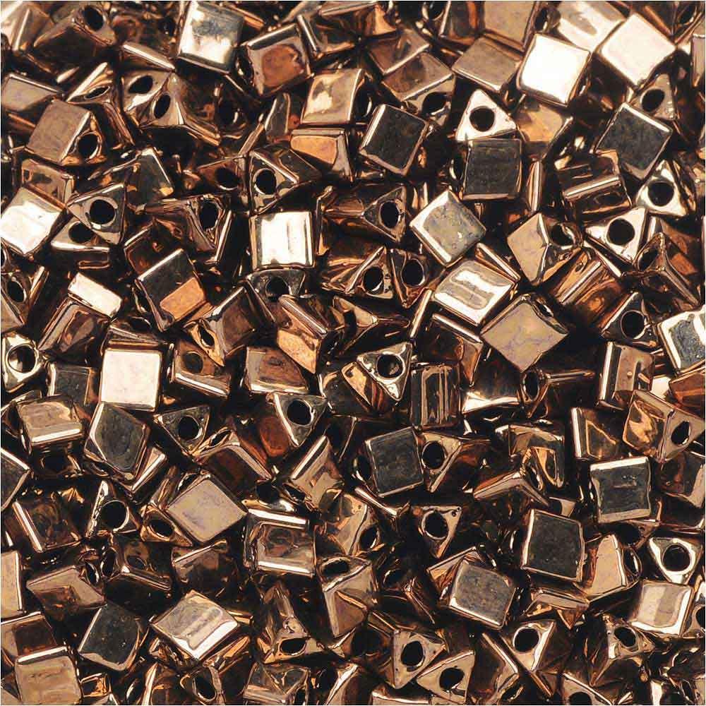 Miyuki, Sharp Triangle Beads 8/0, 7.2 Grams, Metallic Dark Bronze