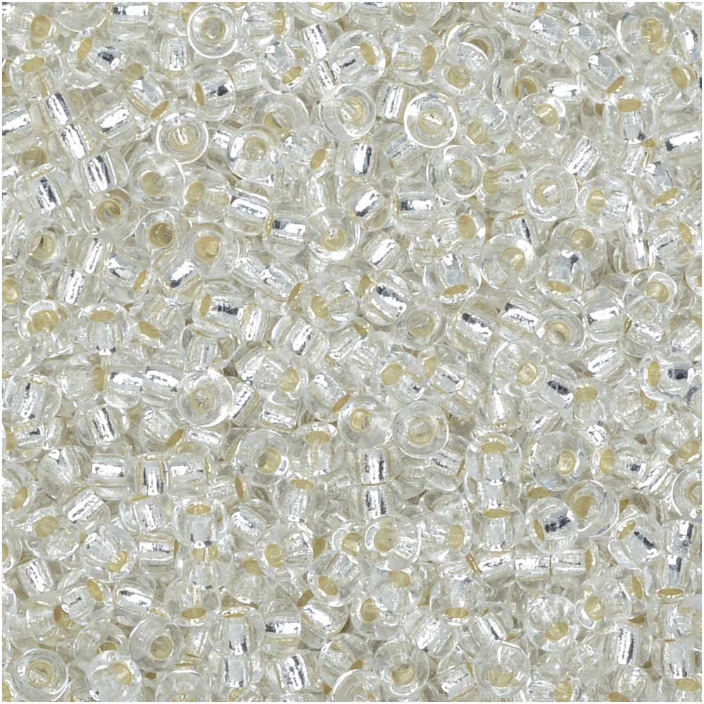 Miyuki Round Seed Beads, 11/0 Size, 8.5 Gram Tube, #1 Transparent Crystal Silver Lined
