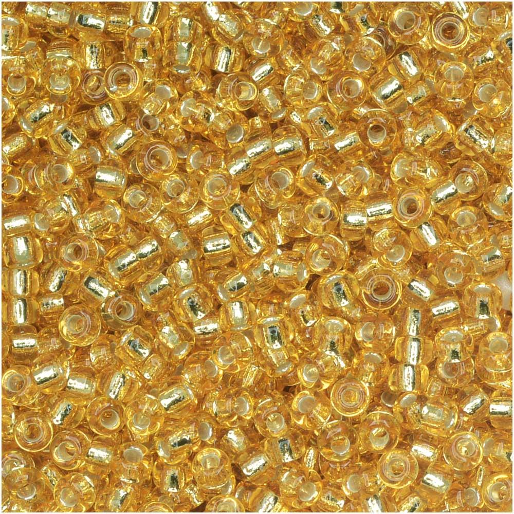 Miyuki Round Seed Beads, 11/0 Size, 8.5 Gram Tube, #3 Silver Lined Gold