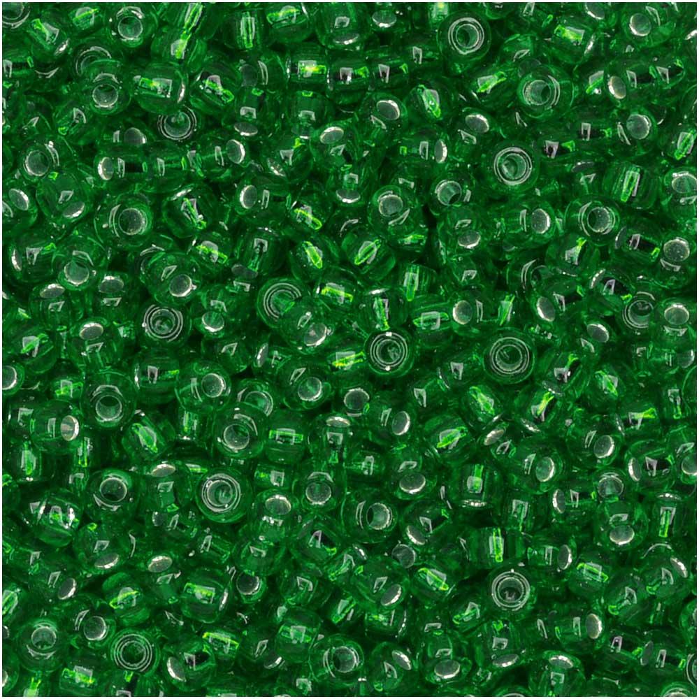 Miyuki Round Seed Beads, 11/0 Size, 8.5 Gram Tube, #16 Silver Lined Green
