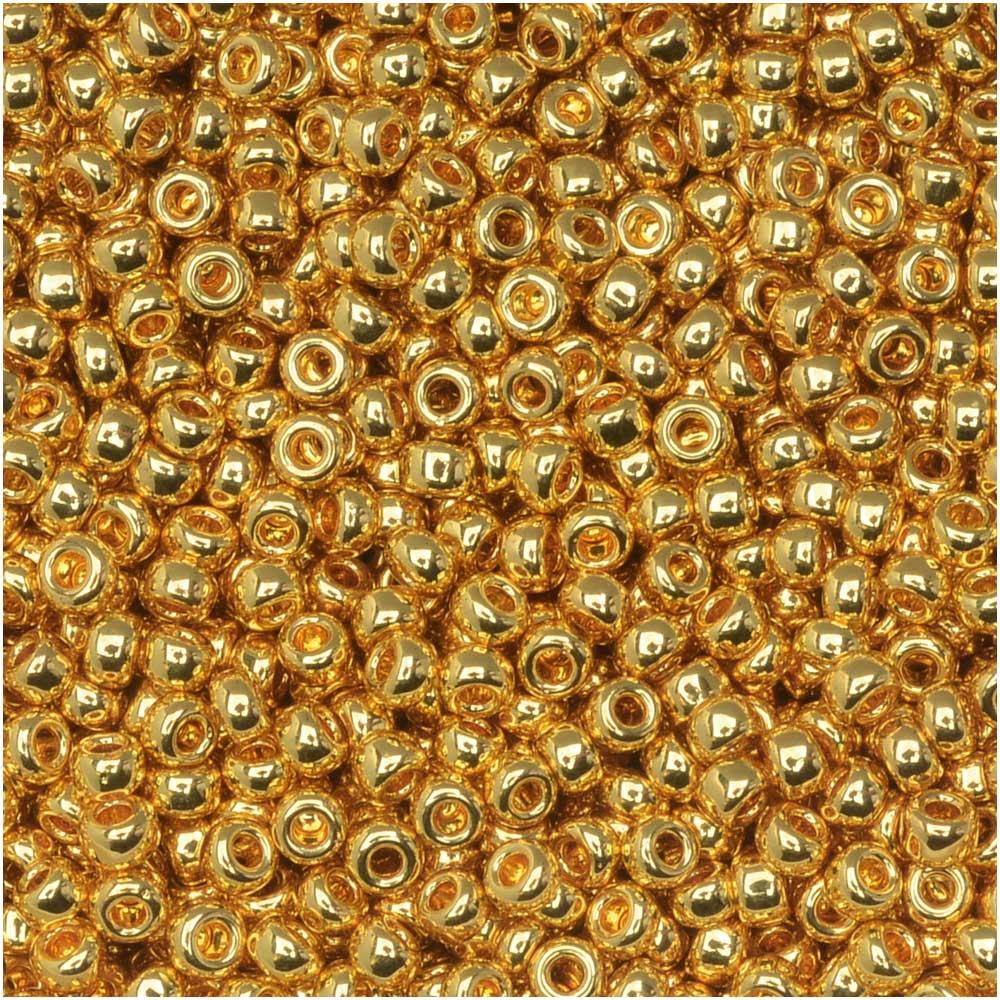 Miyuki Round Seed Beads, 11/0 Size, 8.5 Gram Tube, #191 24Kt Gold Plated