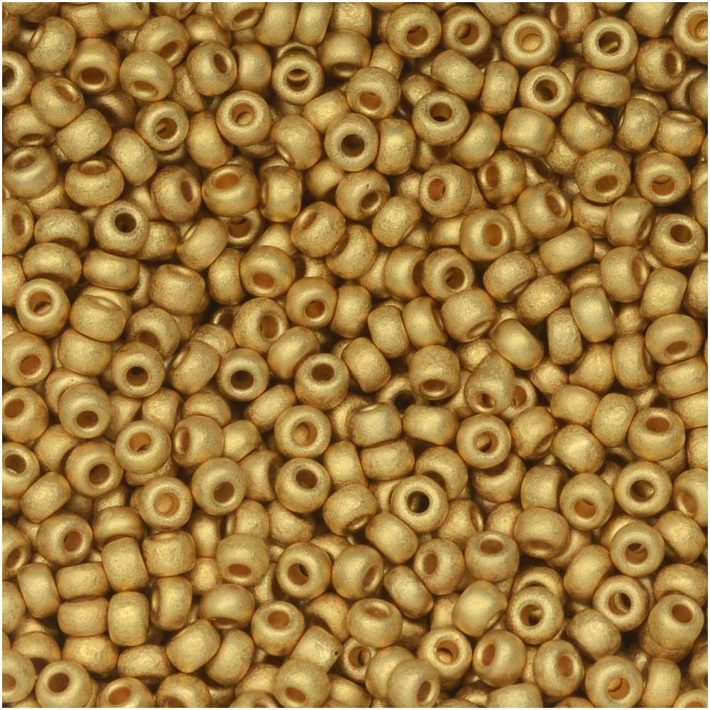 Miyuki Round Seed Beads, 11/0 Size, 8.5 Gram Tube, #191F Matte 24Kt Gold Plated
