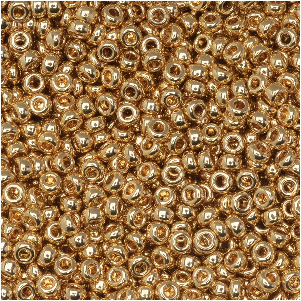 Miyuki Round Seed Beads, 11/0 Size, 8.5 Gram Tube, #193 Light 24Kt Gold Plated