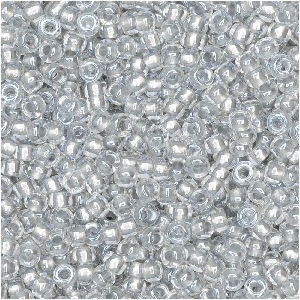 Miyuki Round Seed Beads, 11/0 Size, 8.5 Gram Tube, #242 Sparkle Pewter Lined Crystal