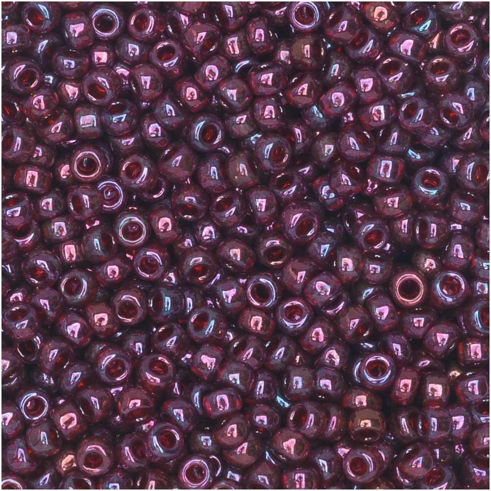 Miyuki Round Seed Beads, 11/0 Size, 8.5 Gram Tube, #313 Cranberry Gold Luster