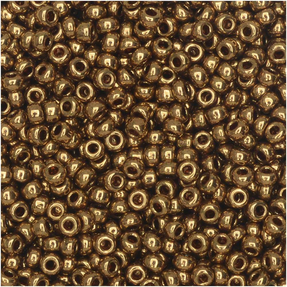 Miyuki Round Seed Beads, 11/0 Size, 8.5 Gram Tube, #457L Metallic Light Bronze