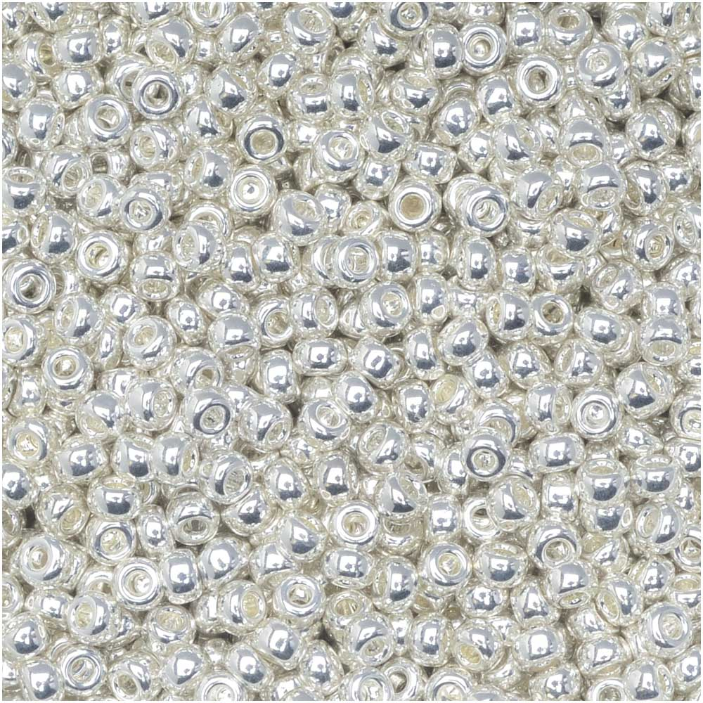 Miyuki Round Seed Beads, 11/0 Size, 8.5 Gram Tube, #961 Bright Sterling (Silver Plated)
