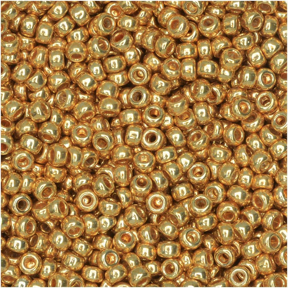 Miyuki Round Seed Beads, 11/0 Size, 8.5 Gram Tube, #1052 Galvanized Dyed Yellow Gold