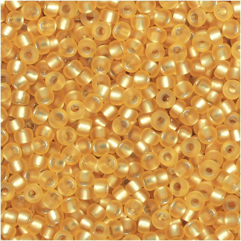 Miyuki Round Seed Beads, 11/0 Size, 8.5 Gram Tube, #1902 Semi-Matte Silver Lined Gold