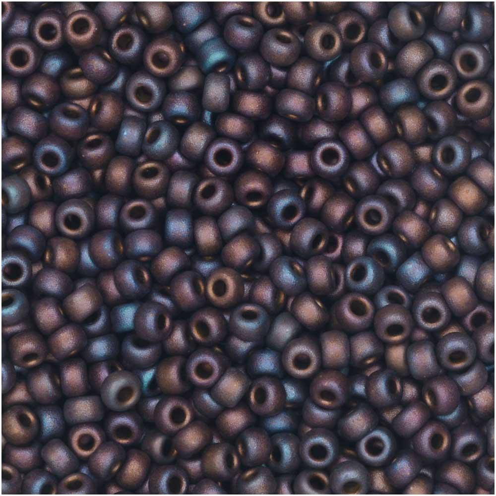 Miyuki Round Seed Beads, 11/0 Size, 8.5 Gram Tube, #2005 Metallic Copper Iris