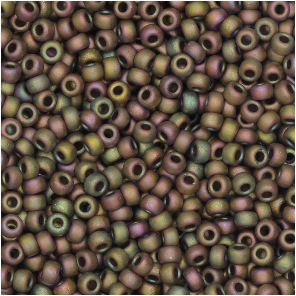Miyuki Round Seed Beads, 11/0 Size, 8.5 Gram Tube, #2035 Matte Metallic Khaki Iris