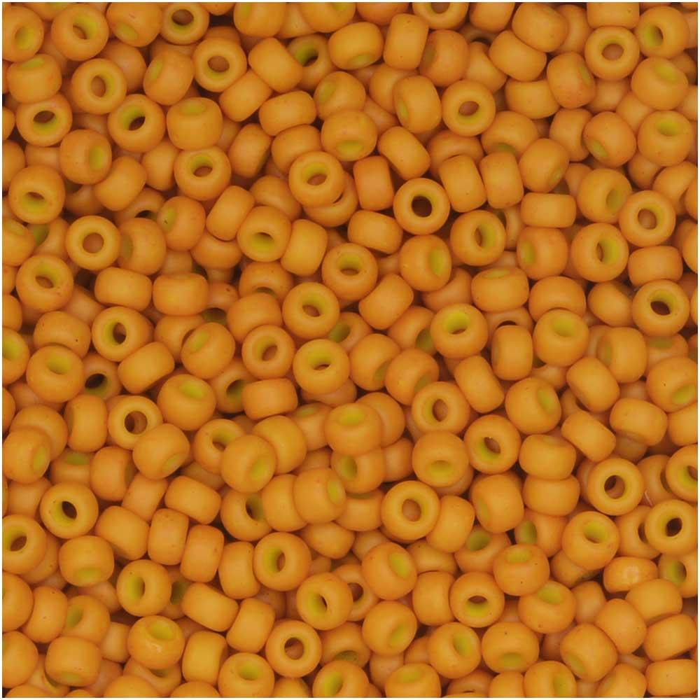 Miyuki Round Seed Beads, 11/0, 8.5 Gram Tube, #2041 Special Dyed Pale Pumpkin (Yellow-Orange)