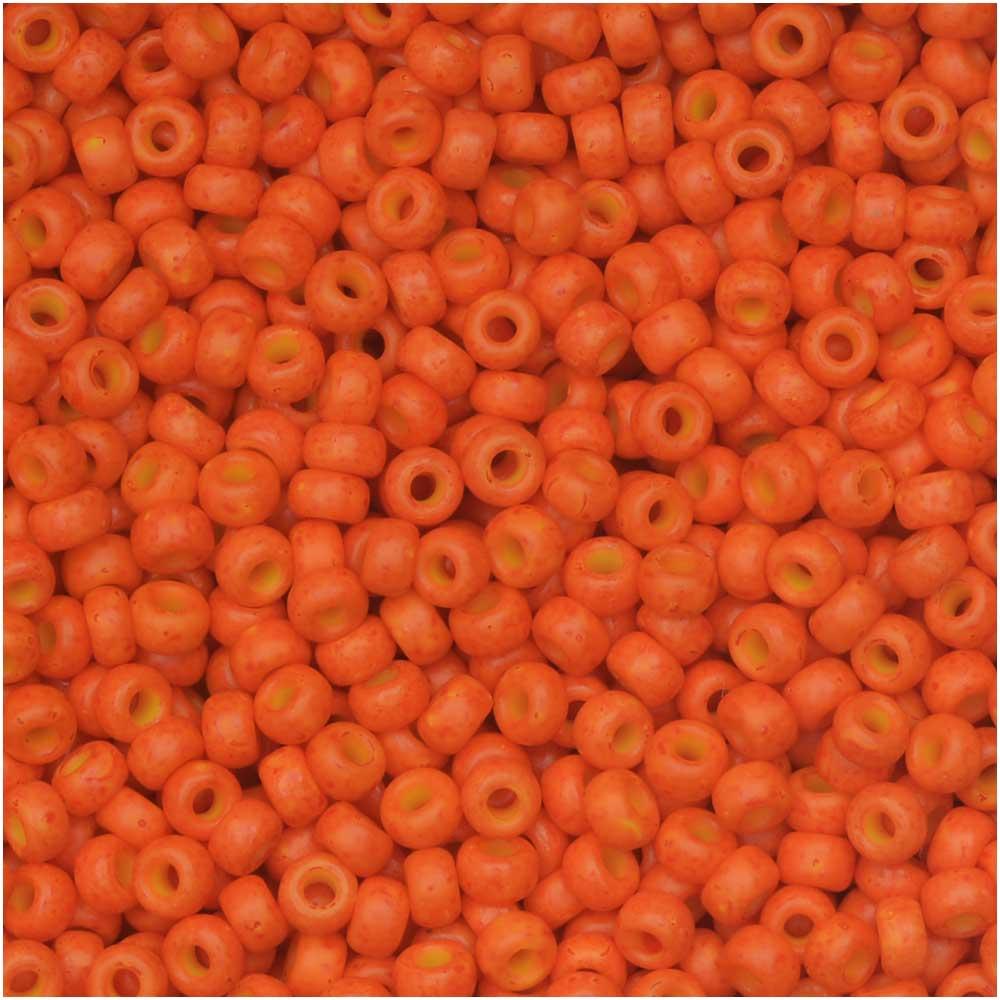 Miyuki Round Seed Beads, 11/0 Size, 8.5 Gram Tube, #2042 Special Dyed Harvest Orange