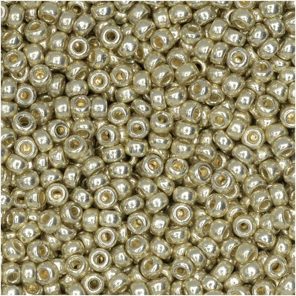 Miyuki Round Seed Beads, 11/0, 8.5 Gram Tube, #4201 Duracoat Galvanized Silver (Plated)