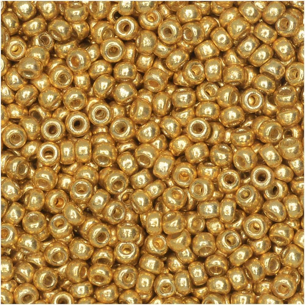 Miyuki Round Seed Beads, 11/0 Size, 8.5 Gram Tube, #4202 Duracoat Galvanized Gold