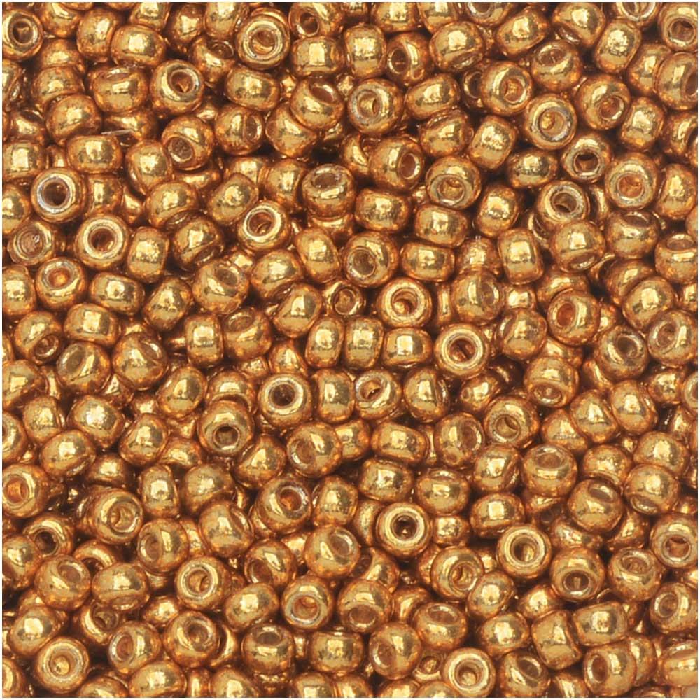 Miyuki Round Seed Beads, 11/0 Size, 8.5 Gram Tube, #4203 Duracoat Galvanized Yellow Gold
